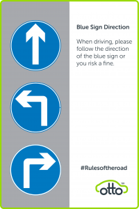 Blue Sign Direction For PCO Drivers