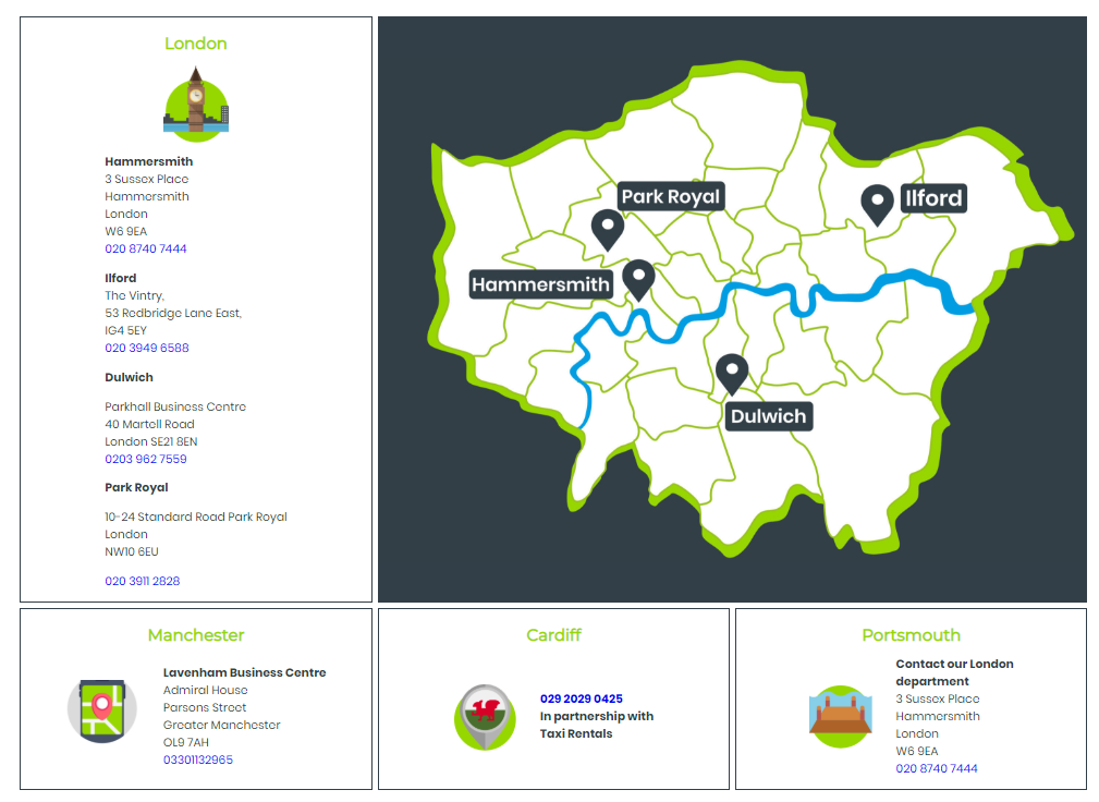 PCO Cars London Locations